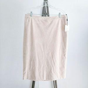 NWT Calvin Klein Faux Suede Tan Pencil Skirt 14
